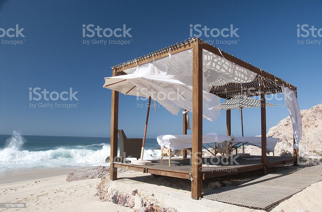 Seaside Massage Cabana at a Resort (Los Cabos, Mexico) stock photo