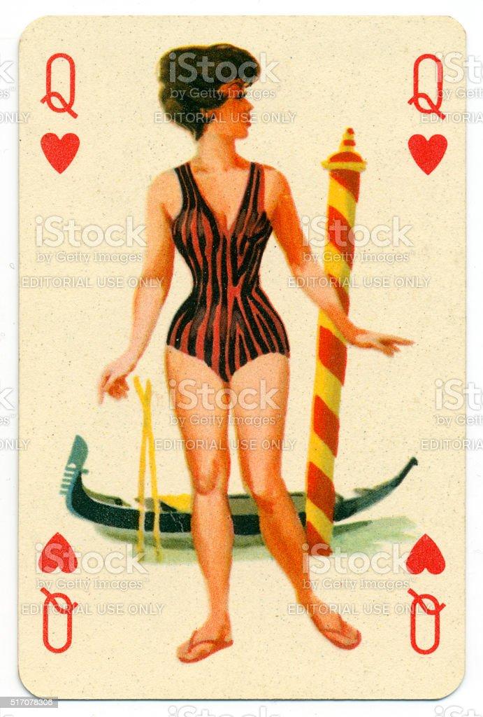 Seaside pin-up Romikartya 4 vintage playing card Hungary 1950s stock photo