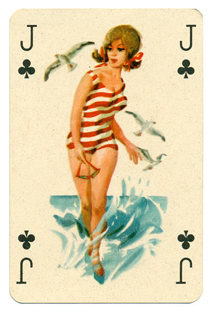 seaside pin-up romikartya 4 vintage playing card hungary 1950s - pin up girl stock pictures, royalty-free photos & images