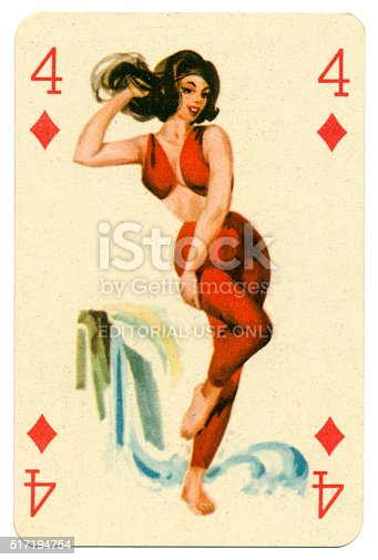 This Four of Diamonds pin-up playing card was manufactured in the 1950s by Játékkártyagyár és Nyomda (the National Playing Card Factory and Printing Company) of Budapest in Hungary. It shows a bathing beauty / pin-up from the pack known as Romikartya 4, which features 1950s pin-up girls, bathing beauties with seaside backgrounds. This model wears a trousered beach outfit and is posing on the beach before a waterfall. The company traded from 1950-1974. Following the Second World War, from 1946-1949, the Austrian-owned company Piatnik continued to operate the factory under licence. In 1950 it became the National Playing Card Factory and Printing Company, incorporating several firms such as the factory in Rottenbiller street; Albert Bakács & Son Printing House, and Emil Seidner posters and label printing press.