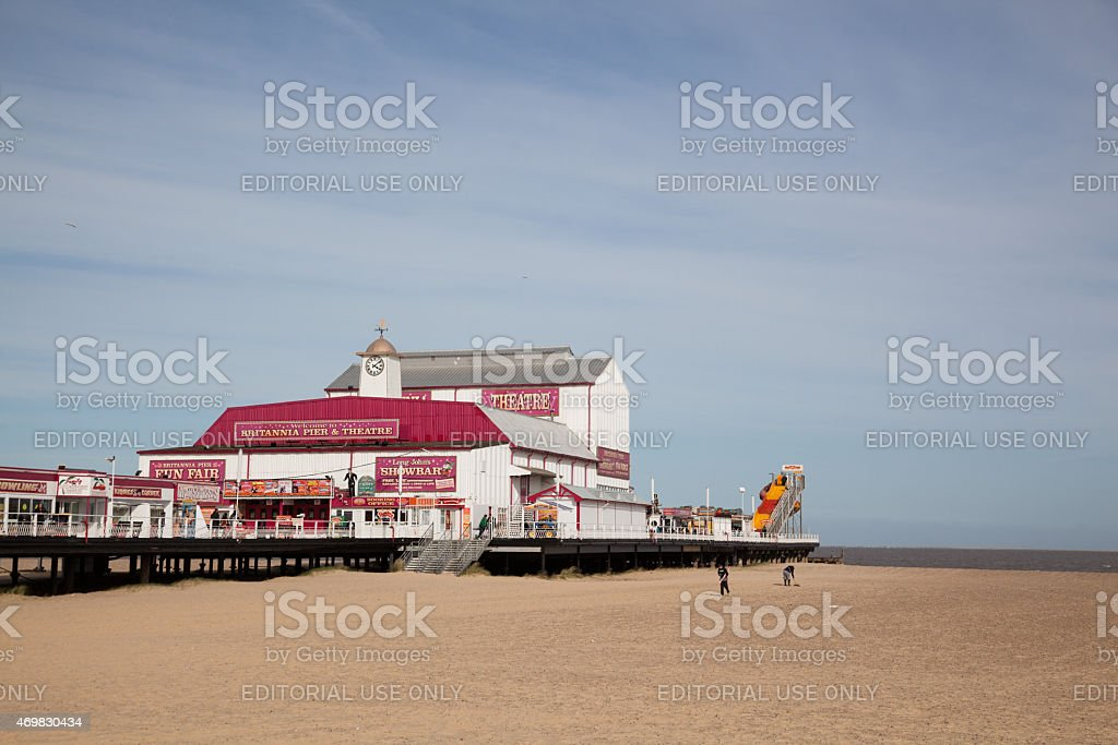 seaside pleasure pier and beach at Great Yarmouth Norfolk England stock photo