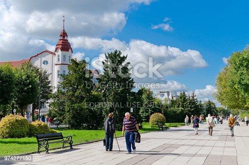 Swinoujscie, West Pomeranian province, Poland. Seaside Promenade - a pre-war boulevard, stretching from the Polish-German border along the spa district.
