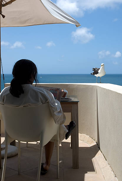 Seaside Relaxation Woman lounging oceanside, reading a newspaper and being visited by a bird. aegis stock pictures, royalty-free photos & images
