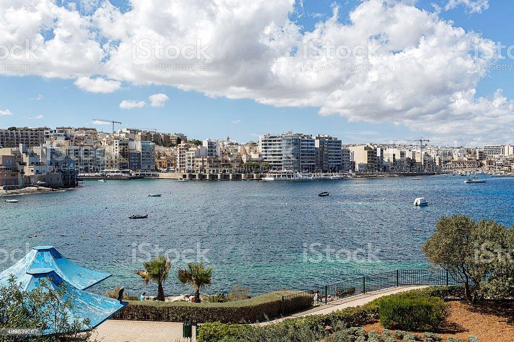 Seaside resort in Malta on the Mediterranean Sea royalty-free stock photo