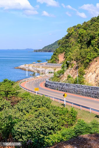 Seaside road highway from Noen Nangphaya View Point in Chanthaburi, east of Thailand