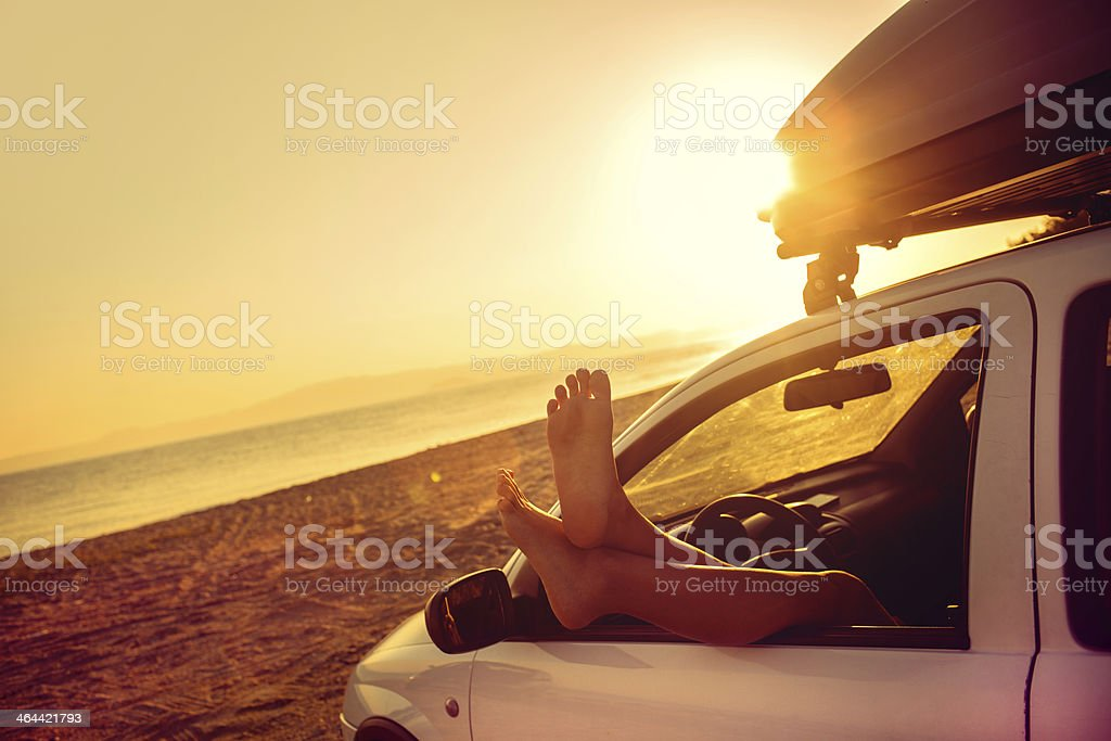 Seaside road trip stock photo