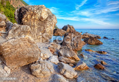 Seaside Rocks Scenery , Perfect Beach with Large Stones