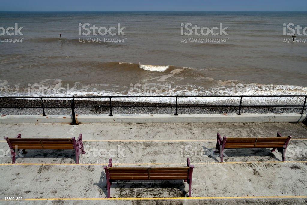 Seaside seats stock photo