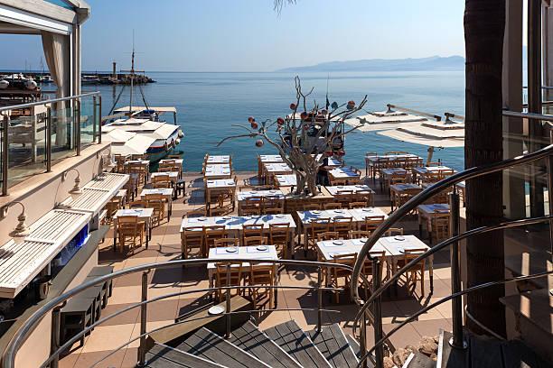 Seaside street cafe stock photo