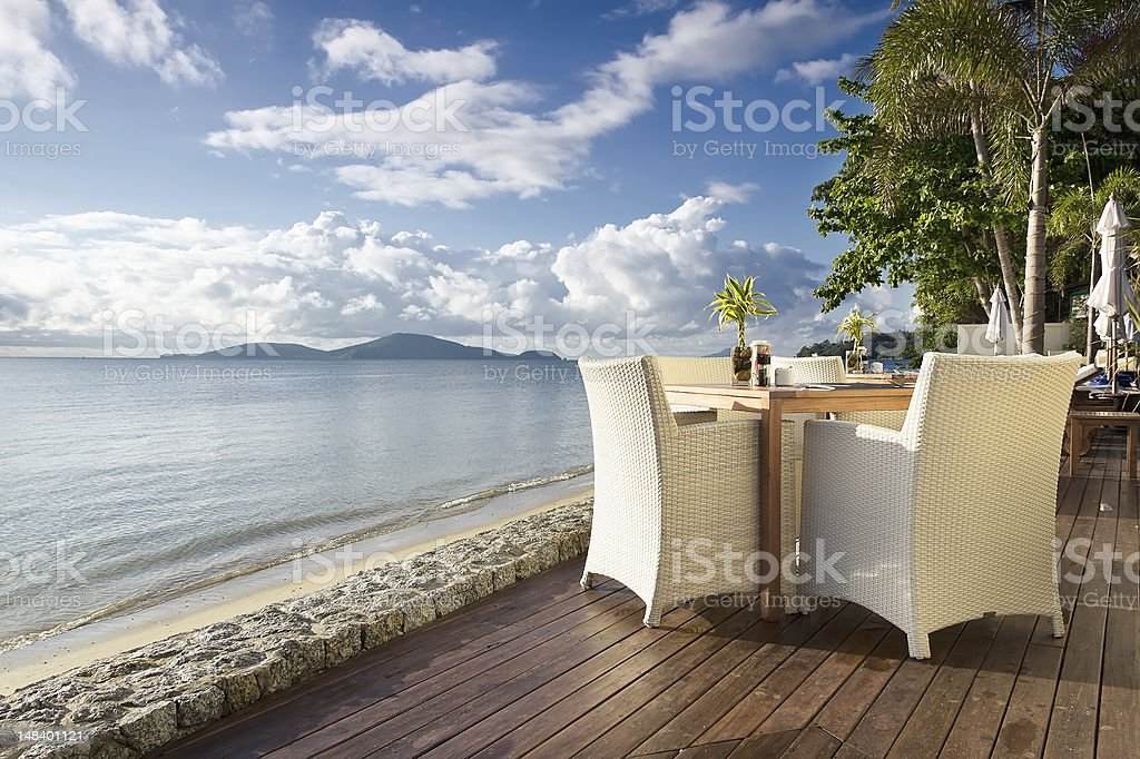 Seaside Table And Chairs stock photo