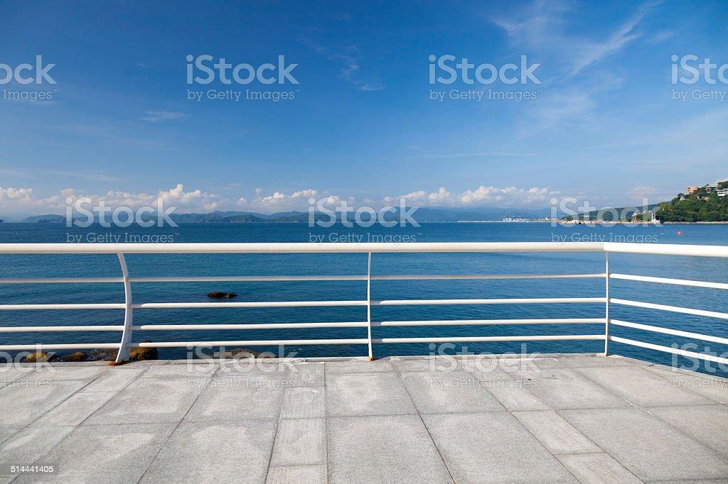 seaside terrace stock photo