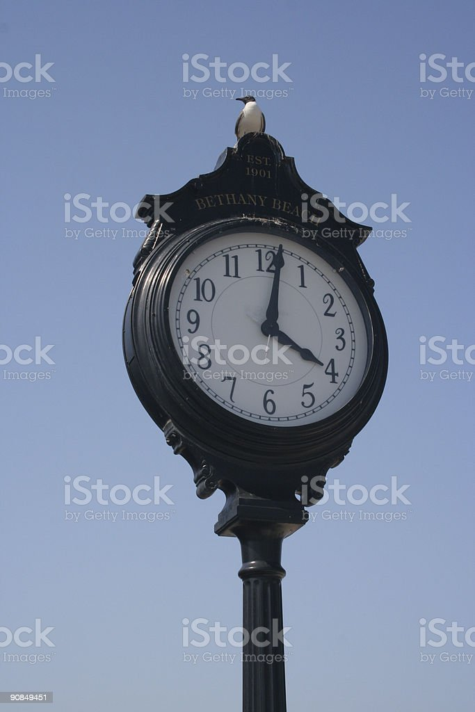 seaside town clock stock photo