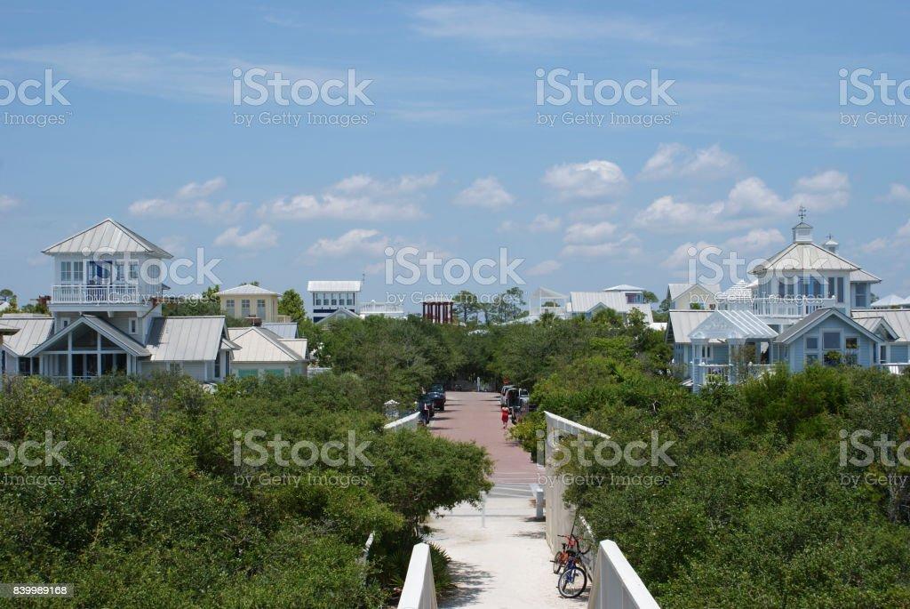 Seaside town stock photo