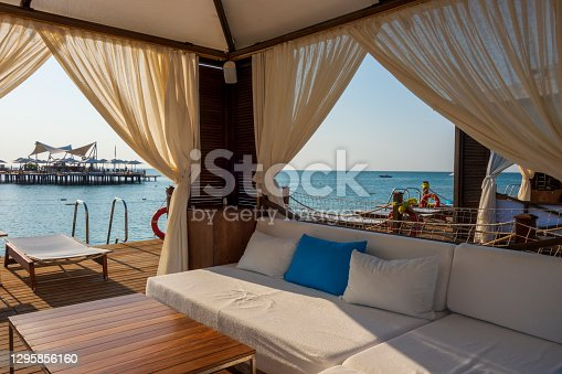 Seaside vacations lounge interior overlooking the sea