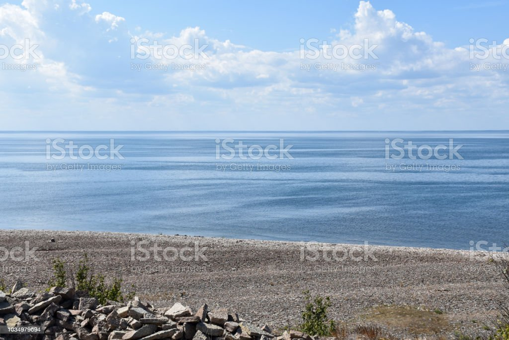 Seaside view by the Baltic Sea stock photo