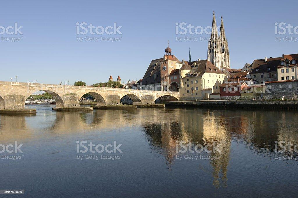 Seaside view of the city of Regensburg in Bavaria stock photo