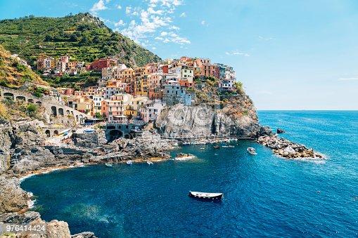 Seaside village Manarola, Colorful buildings and beach in Cinque Terre, Italy