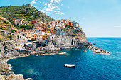 Seaside village Manarola, Colorful buildings and beach in Cinque Terre, Italy
