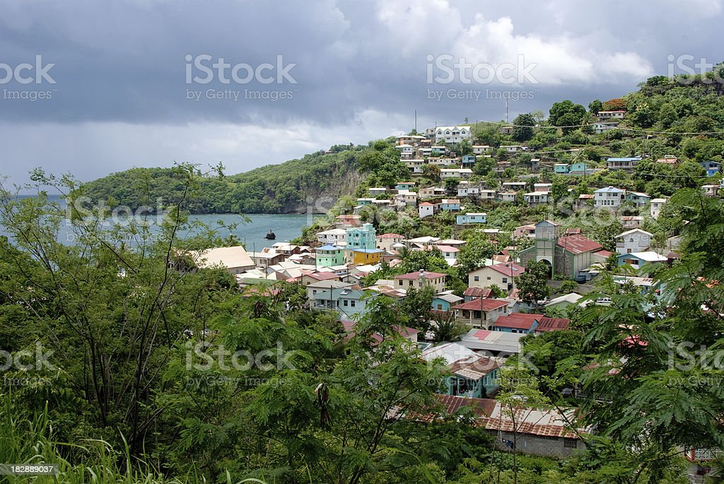 seaside village of canaries st lucia stock photo