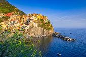 seaside village of Riomaggiore at Cinque Terre; Riomaggiore, Italy