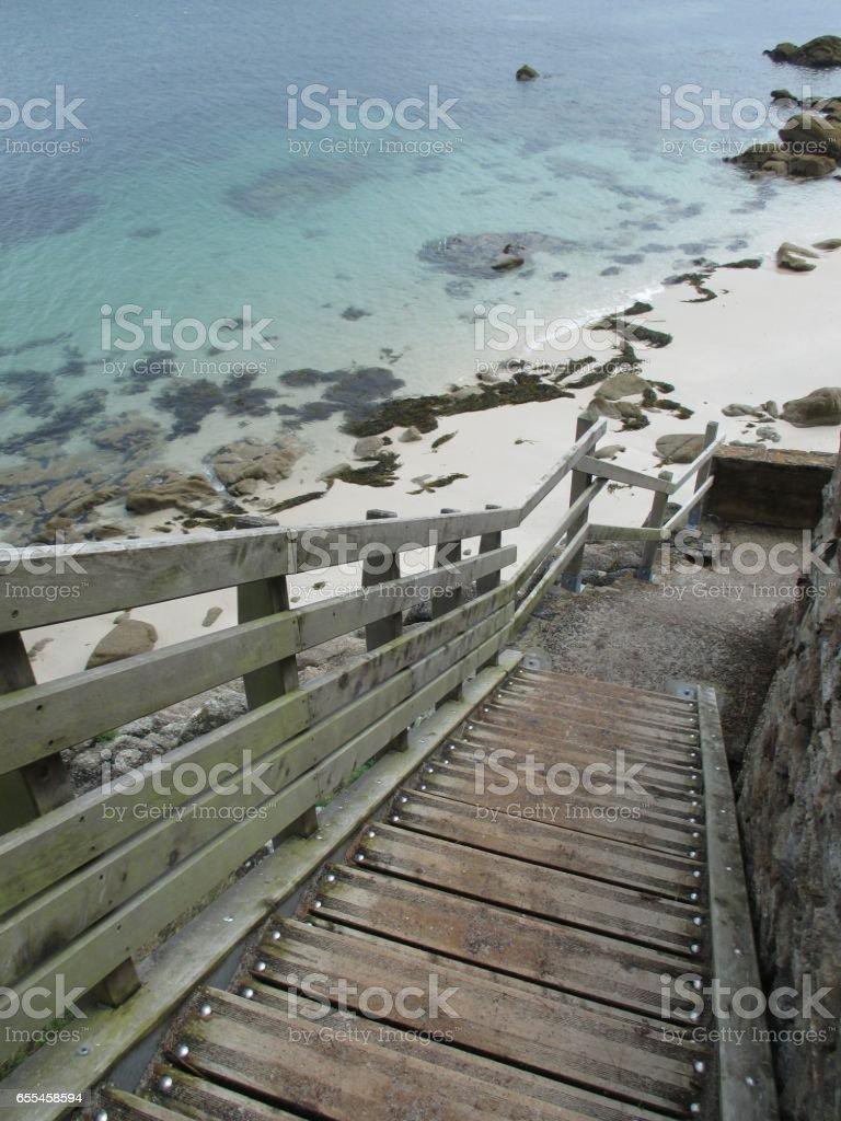 Image Bord De Mer bord de mer escalier en bois accès À la plage stock photo