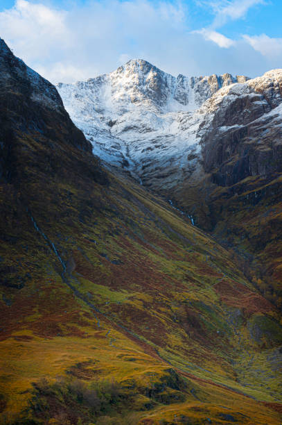 Season change from autumn to winter in Glencoe, in Scottish highlands. stock photo