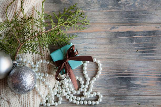saisonale Hintergrund Winter Dekor blau Geschenk-box – Foto