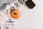 istock Seasonal flatlay with autumn accessories 855150630