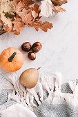 istock Seasonal flatlay with autumn accessories 857229476