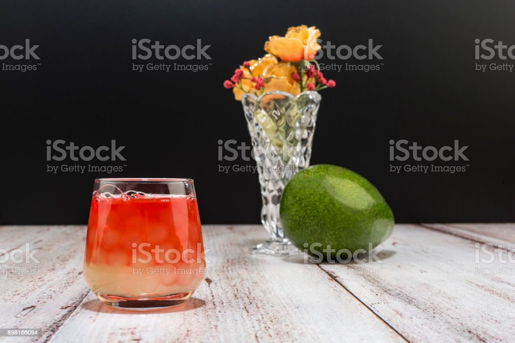 healthy lifestyle with fresh food and drinks. Avocado and Cherry