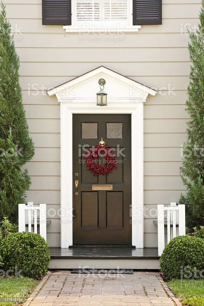 Seasonal Front Door on a Home stock photo