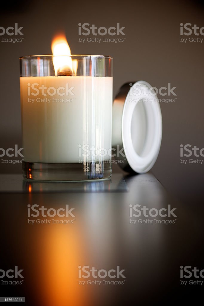 seasonal holiday burning flame candle stock photo