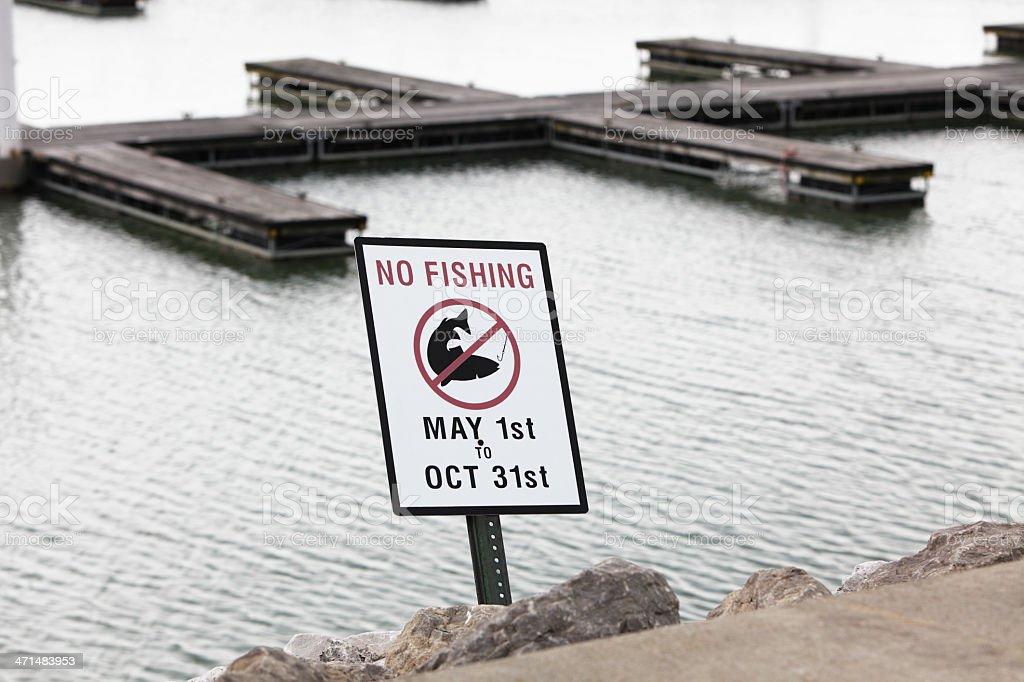 Seasonal No Fishing Sign royalty-free stock photo