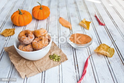 Sweet and savory pumpkin spice donuts on a table.