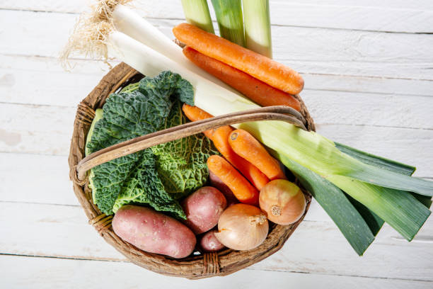 seasonal vegetables for preparation of french pot au feu seasonal vegetables for preparation of french pot au feu pot au feu stock pictures, royalty-free photos & images