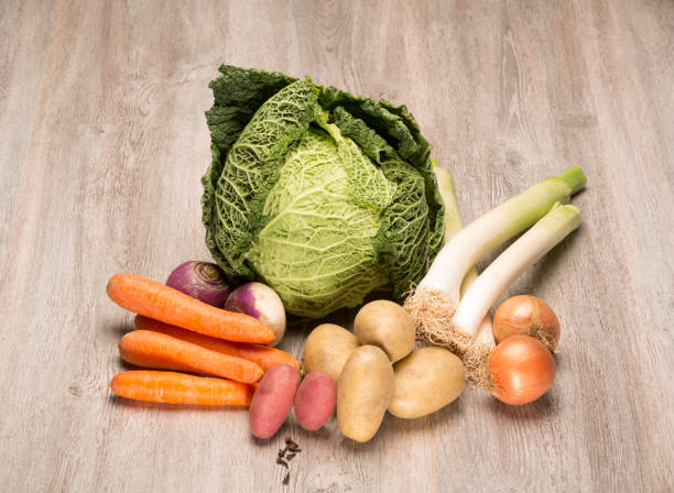 "Seasonal vegetables for the preparation of the French ""pot au feu"" stock photo"
