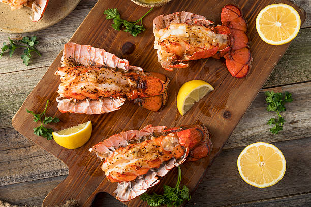 Seasoned Baked Lobster Tails stock photo