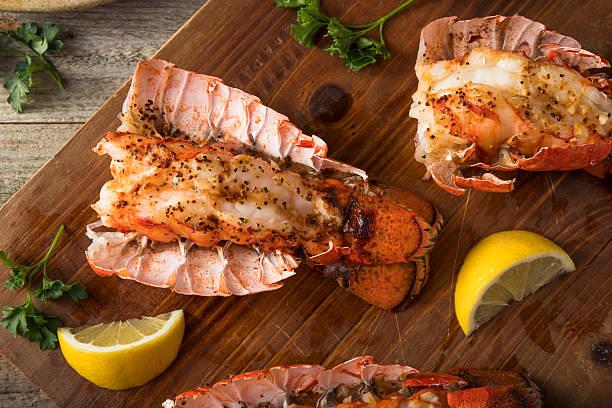 Seasoned Baked Lobster Tails stock photo