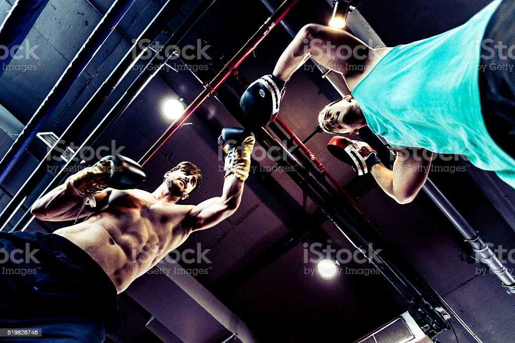 Seasoned Boxers Fighting in a Boxing Ring stock photo