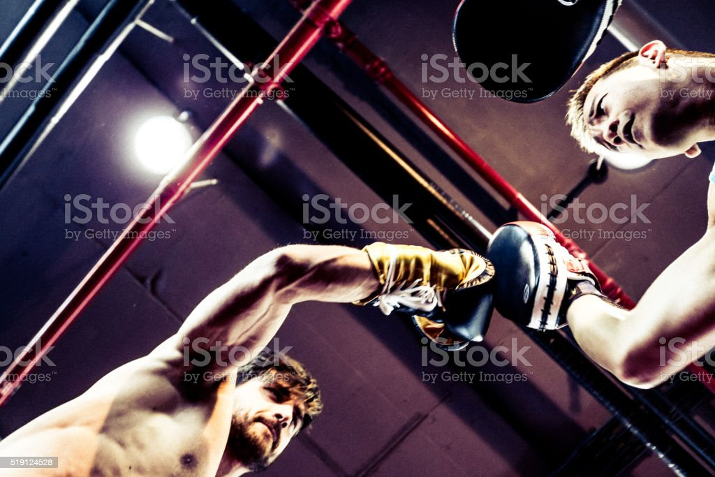Seasoned Boxers Fighting Seen From Below stock photo