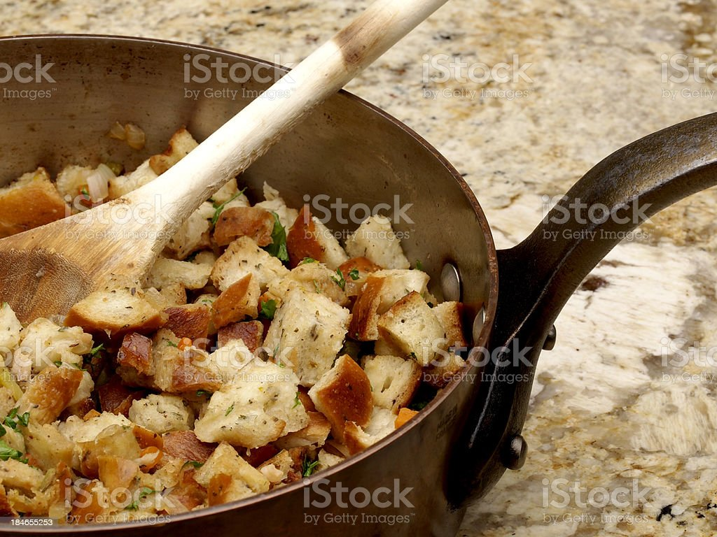 Seasoned Bread Stuffing stock photo