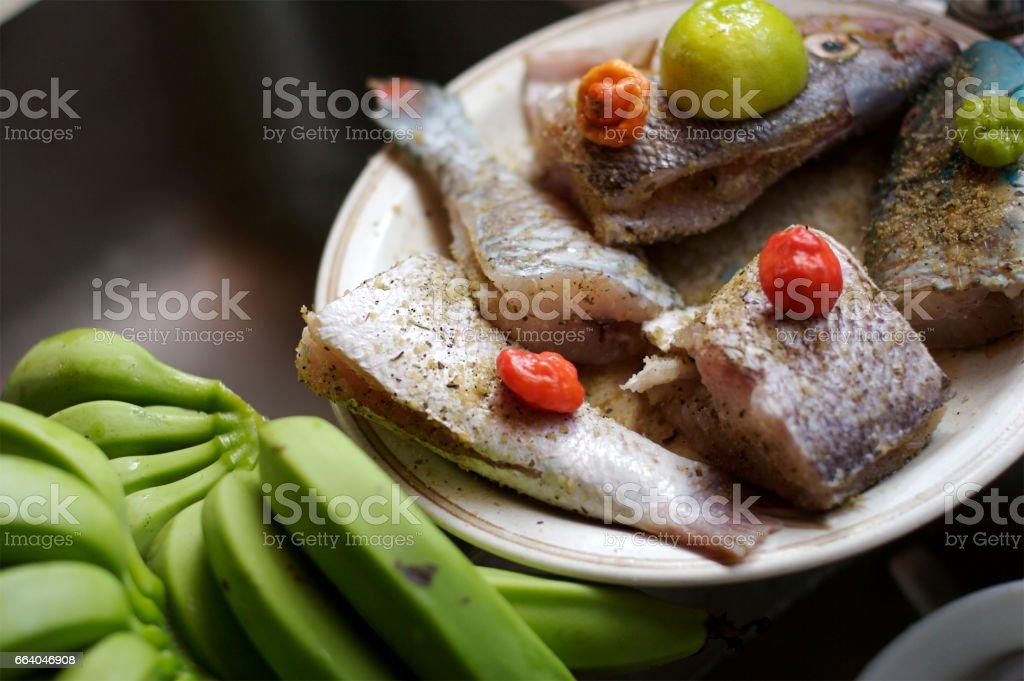 Seasoned Caribbean Style Fresh Fish stock photo