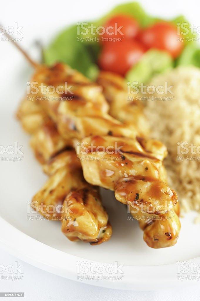 Seasoned chicken skewers royalty-free stock photo