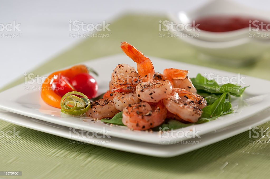 Seasoned Prawns on a Green Salad royalty-free stock photo