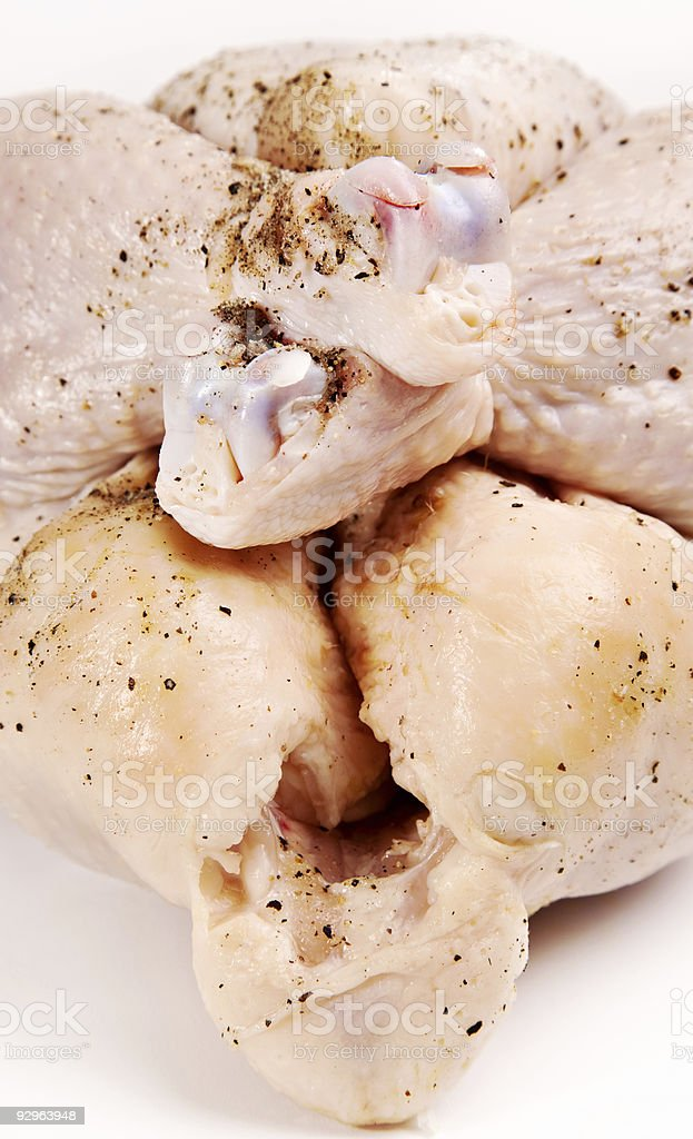 Seasoned raw chicken close-up royalty-free stock photo