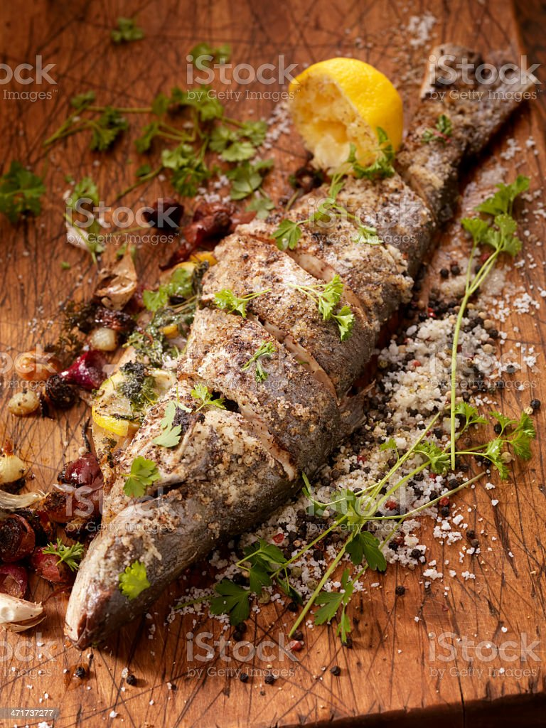 Seasoned Sea Bass stock photo