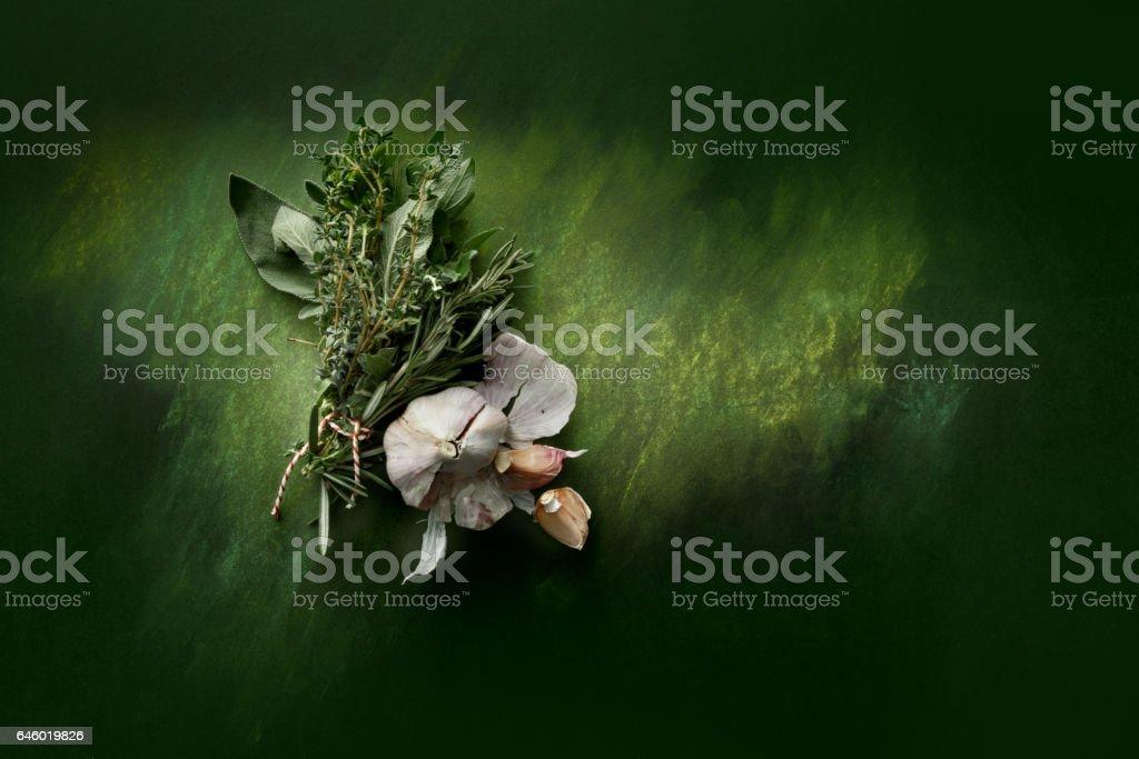 Seasoning: Bouquet Garni and Garlic Still Life stock photo
