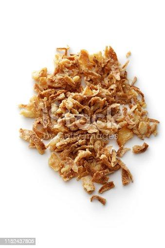 Seasoning: Fried Onions Isolated on White Background