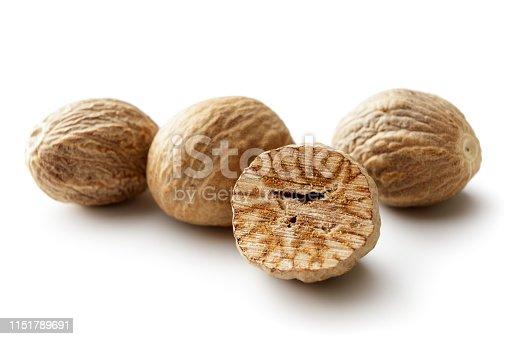 Seasoning: Nutmegs Isolated on White Background