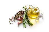 Seasoning: Olive Oil, Pepper, Rosemary and Garlic Isolated on White Background